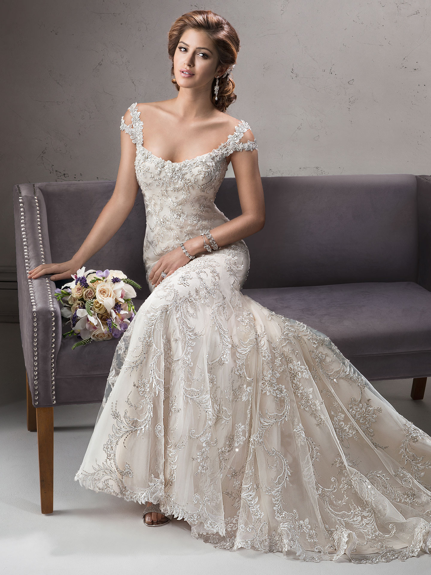Canapes and Gowns Inspired by International Weddings - Ettiene wedding dress by Sottero and Midgley