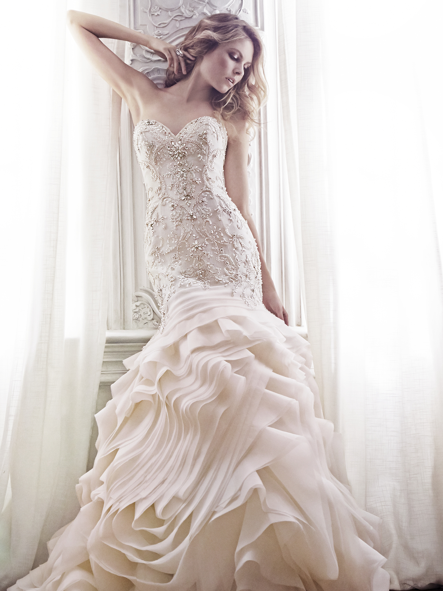 Romantic mermaid wedding dress - Aurora in blush by Maggie Sottero