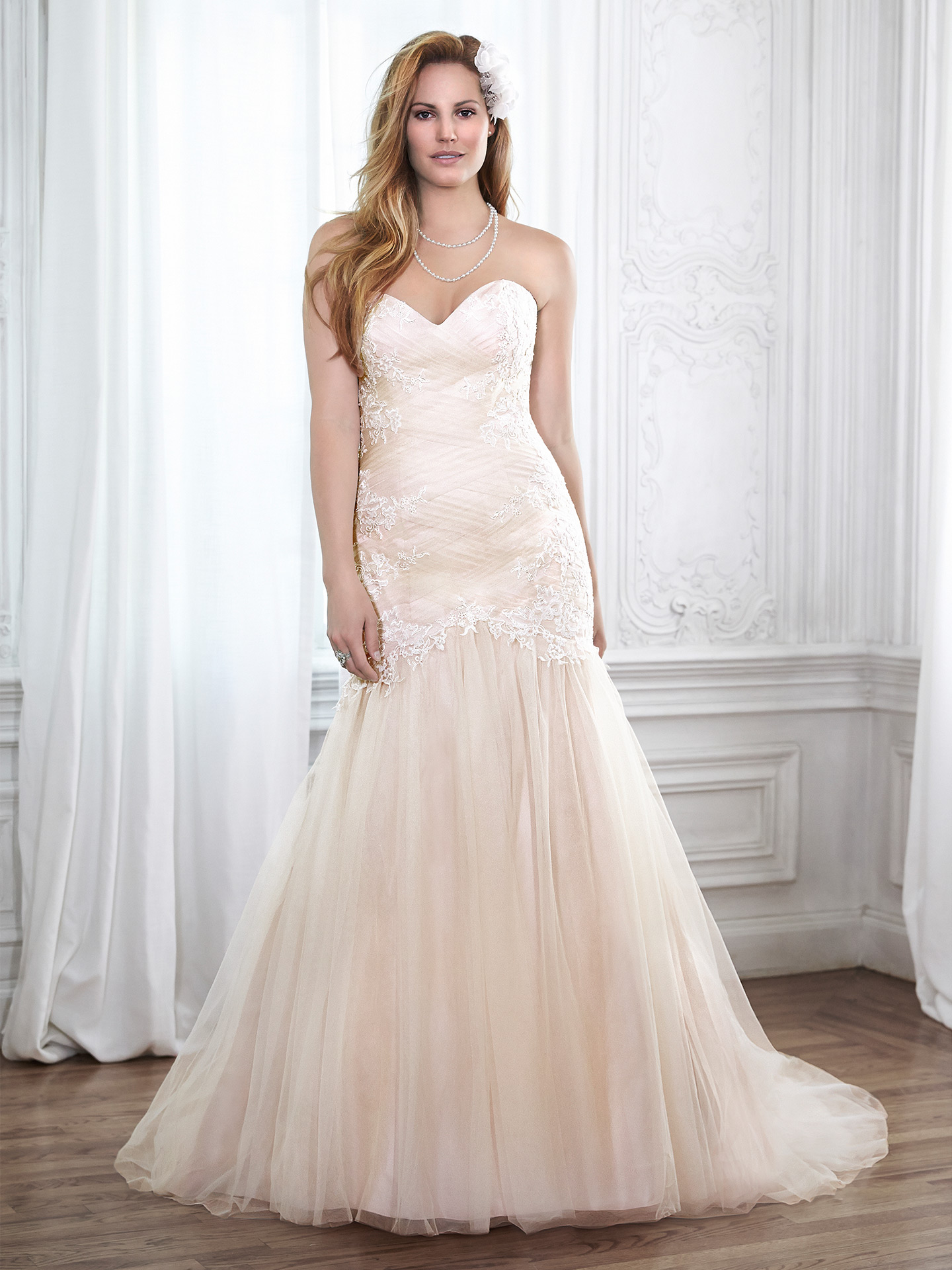 Blush wedding dress by Maggie Sottero. Colorful Wedding Dresses For The Bold Bride