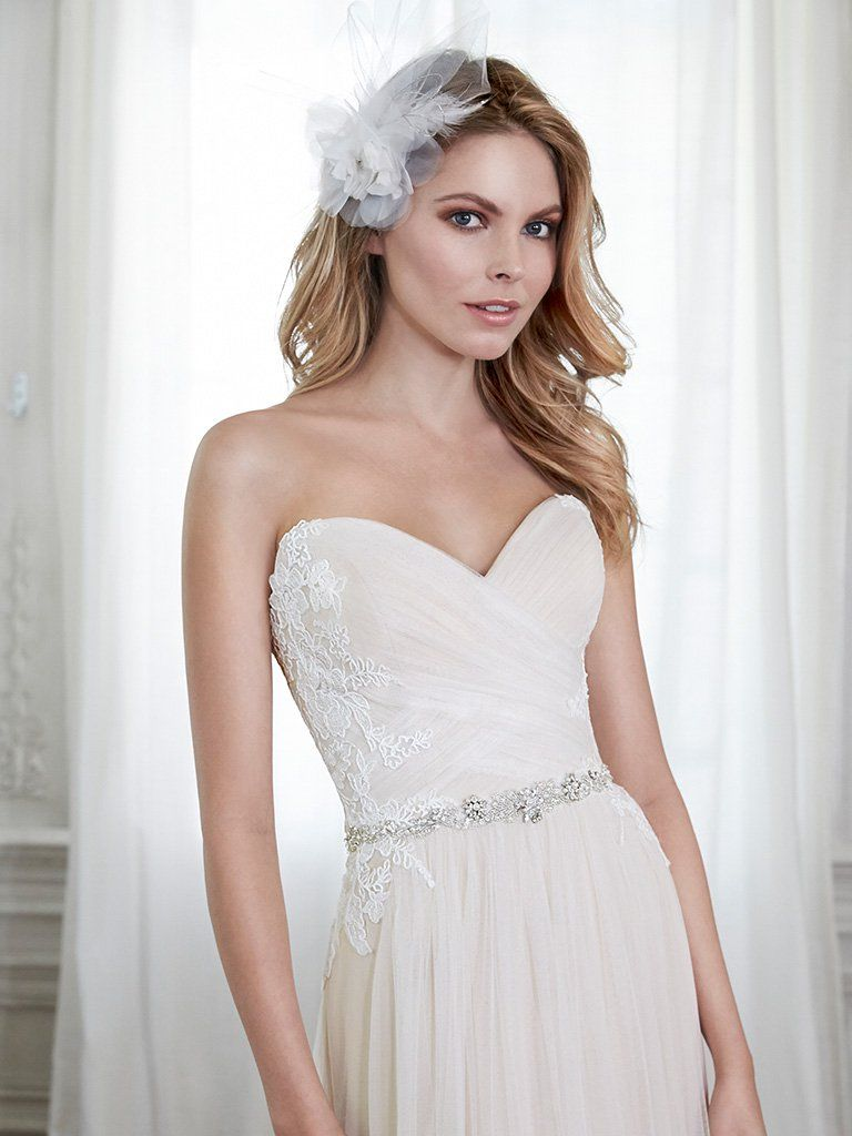 Cute Girl's Hairstyles - Pixie hair with headband featuring Phyllis Wedding Dress by Maggie Sottero