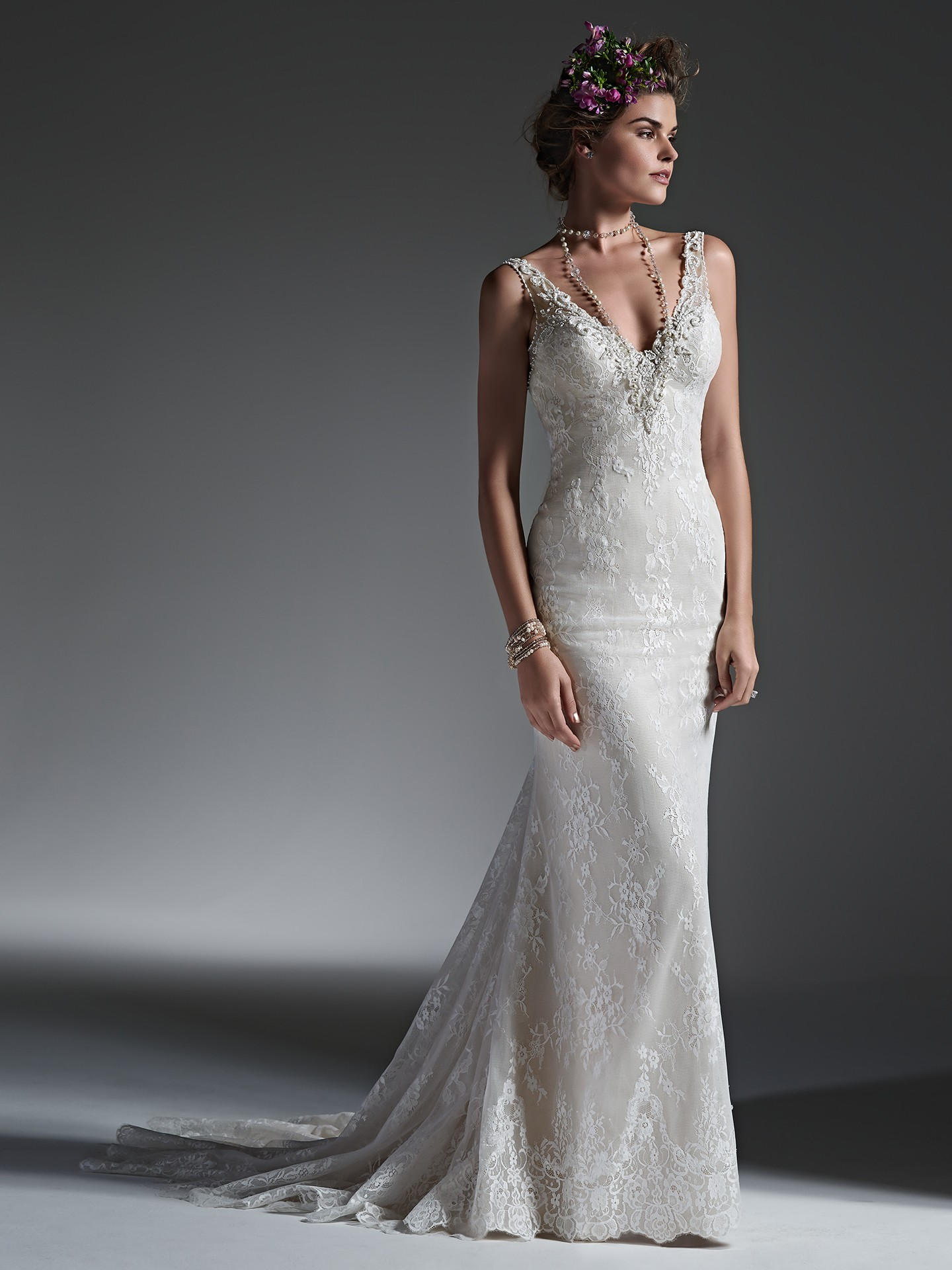 minimal lace wedding dress - Perri by Sottero and Midgley