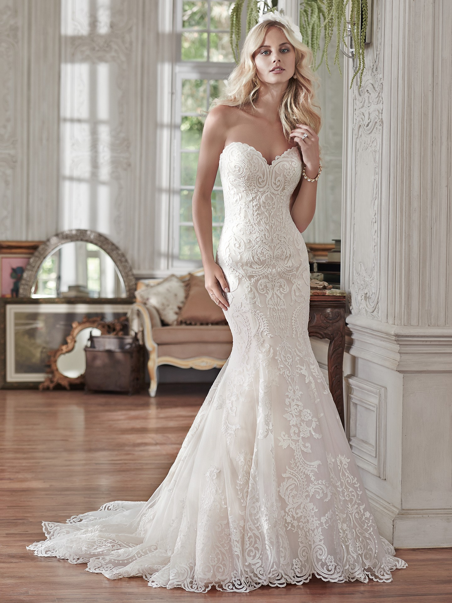 Strapless Fit And Flare Gowns With Sequined Fl Liques Rosamund By Maggie Sottero