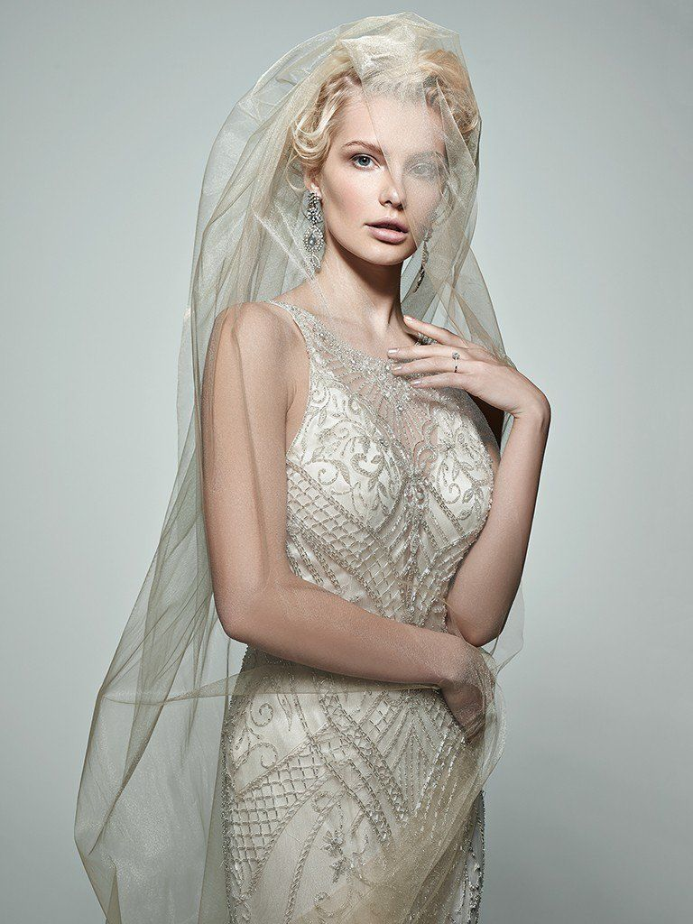 Vintage Wedding Gowns with Geometric Details - Maui wedding dress by Sottero and Midgley