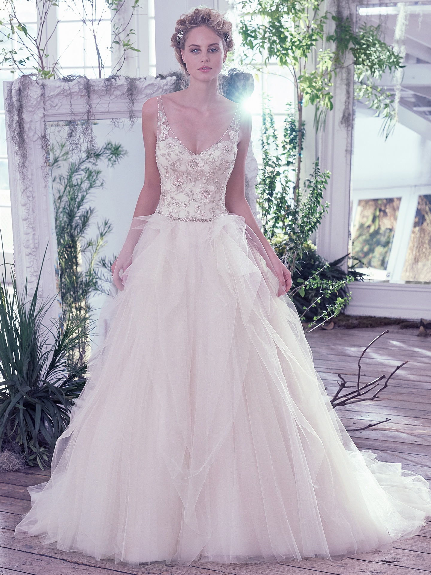 Light Gold with Blush/Pewter/Gold Accent wedding dress by  Maggie Sottero. Colorful Wedding Dresses For The Bold Bride