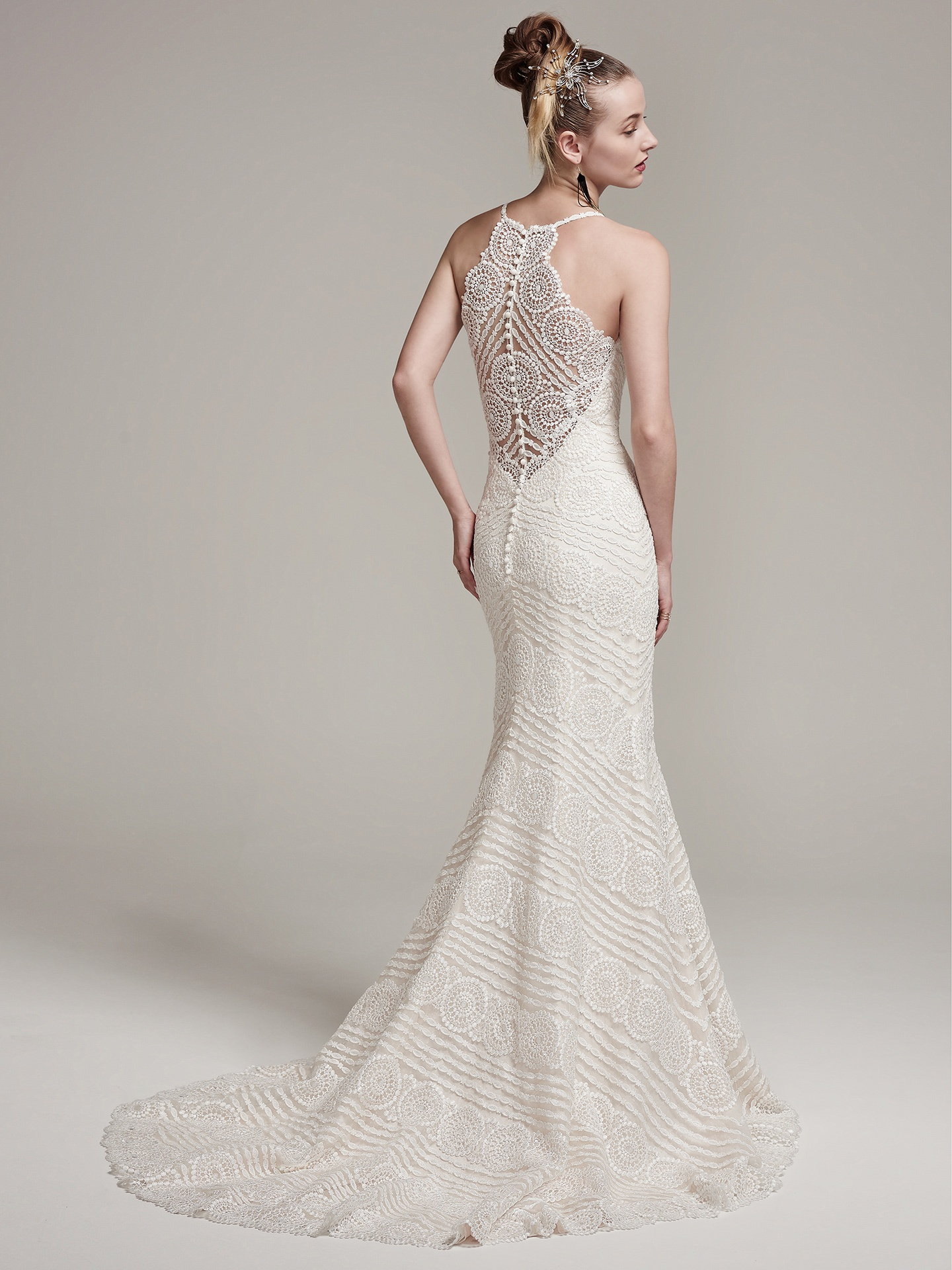 Bexley by Sottero and Midgley. Modern and romantic, this lace sheath wedding dress with spaghetti straps and V-neckline highlighted with opal beads is unforgettably feminine and chic.