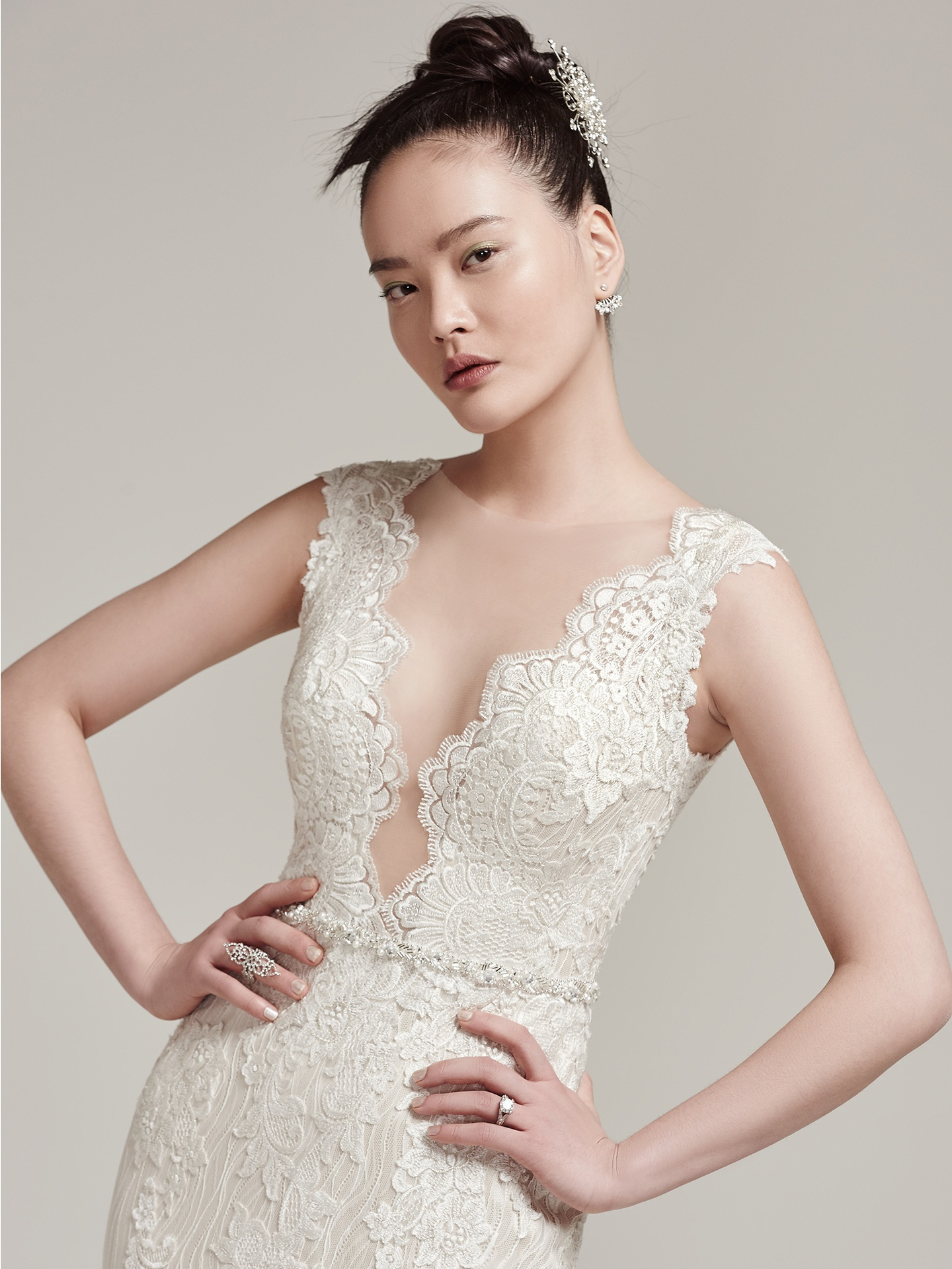 show-stopping Wyatt with illusion plunging neckline - Wyatt by Sottero and Midgley