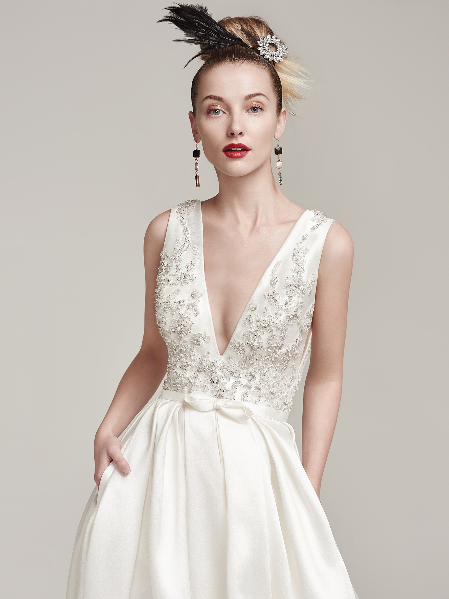 plunging v-neckline satin wedding dress - Margot by Sottero and Midgley