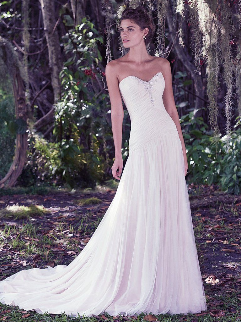 Asymmetrical Ruching Adds Movement and Dimension. Wedding Gowns that Look Great in Photos - Heather wedding dress by Maggie Sottero