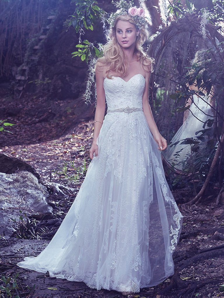 Lace over tulle wedding dress Bailey by Maggie Sottero