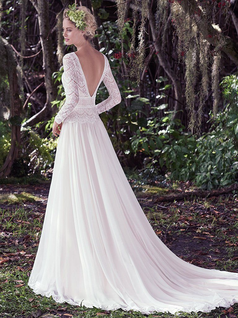 Sleeved wedding dresses in lace chiffon tulle and crepe for Maggie sottero mckenzie wedding dress