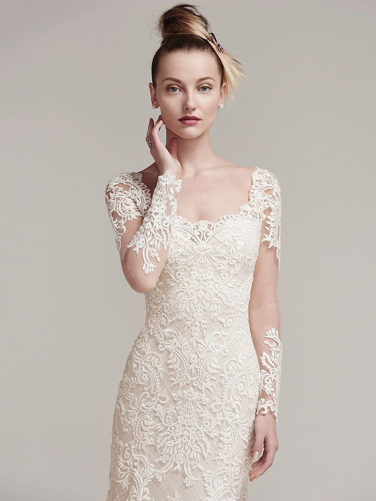 Favorite Sleeved Wedding dresses - Edgy lace wedding dress with sleeves Melrose by Sottero and Midgley