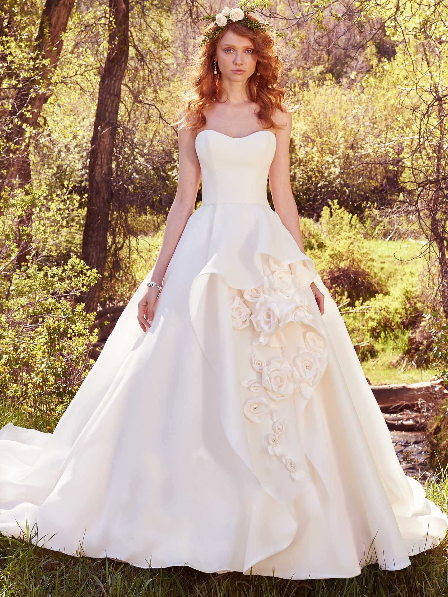 A super modern silhouette in a premium fabrication is a homerun for photos. Wedding Gowns that Look Great in Photos - Bianca wedding dress by Maggie Sottero