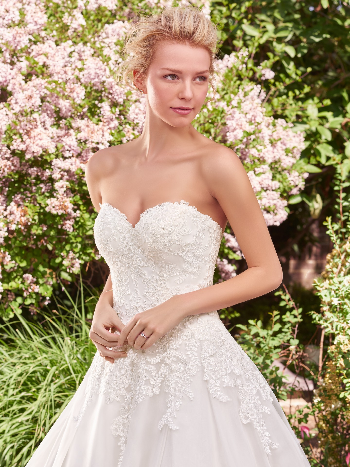 Off-the-shoulder lace jacket with elbow-length sleeves sold separately. Darlene ballgown wedding dress with separate jacket. - The Latest Wedding Dress Trends for Engagement Season 2018