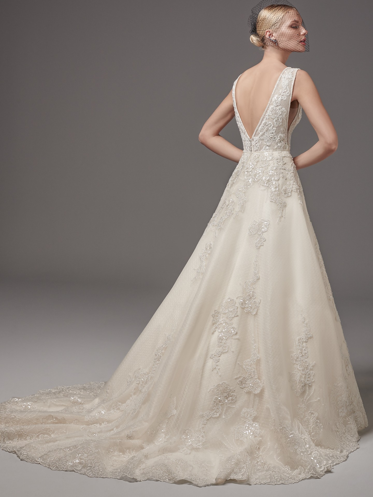 Champagne/Pewter Accent wedding dress by Sottero and Midgley. Colorful Wedding Dresses For The Bold Bride