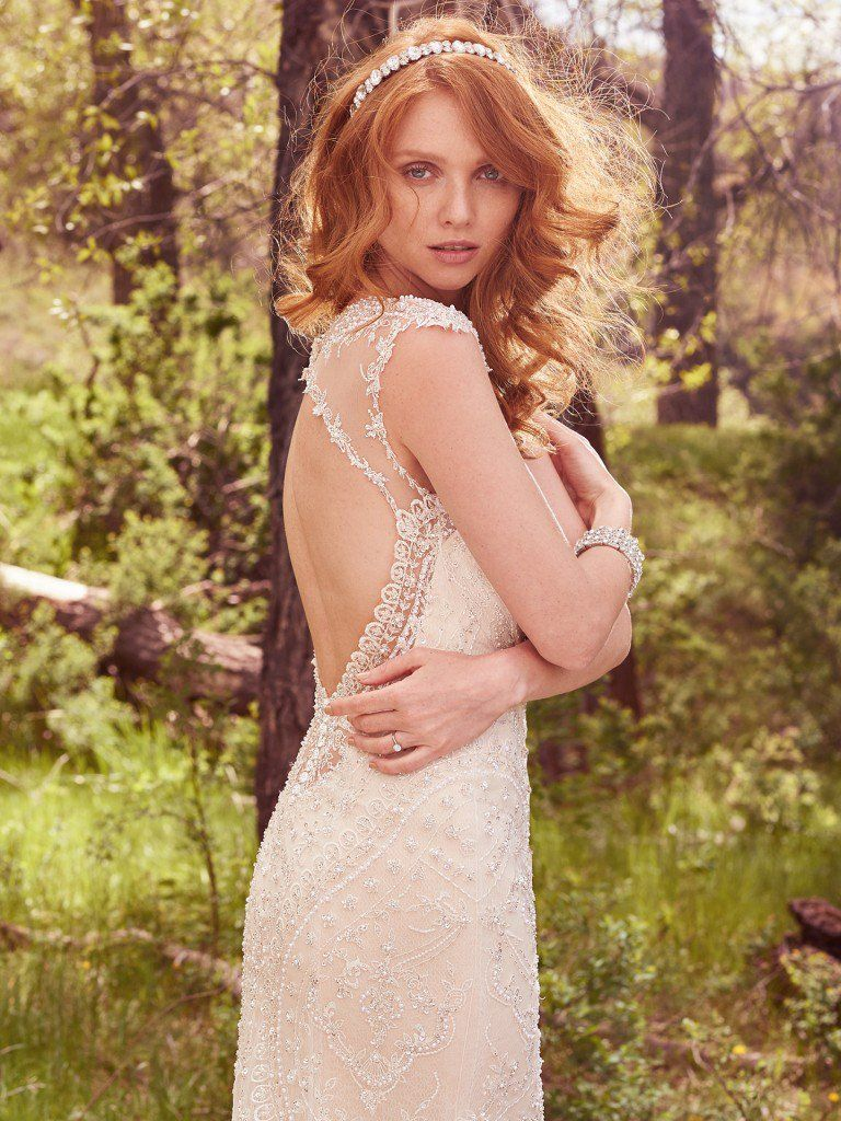 Vintage Wedding Gowns with Geometric Details - Petra wedding dress by Maggie Sottero