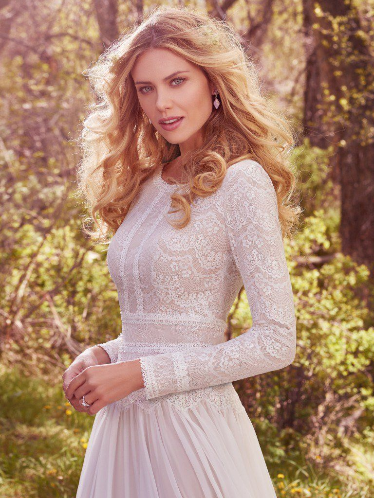 Ten Unique Boho Wedding Dresses - Deirdre Marie is a modest wedding dress with serious boho vibes from Maggie Sottero.