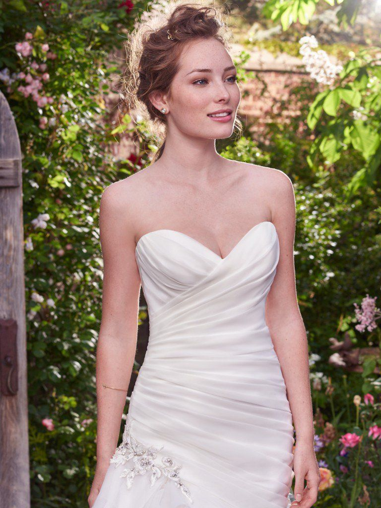 Asymmetrical Ruching Adds Movement and Dimension. Wedding Gowns that Look Great in Photos - Isabelle wedding dress by Rebecca Ingram