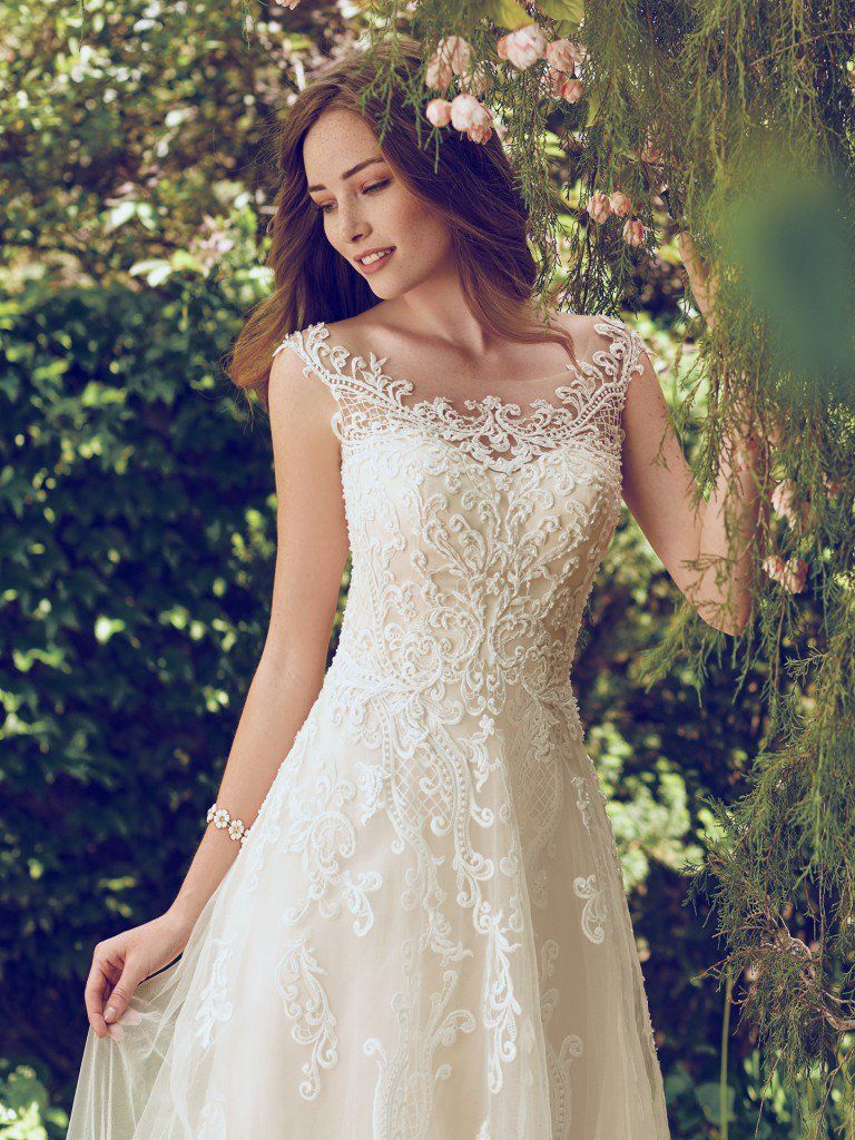 Lace over tulle wedding dress Alex by Rebecca Ingram