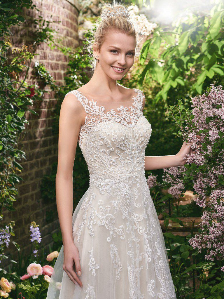 Lightweight Gatsby Gowns for a Summer Wedding - Classic lace wedding dress Alexis by Rebecca Ingram