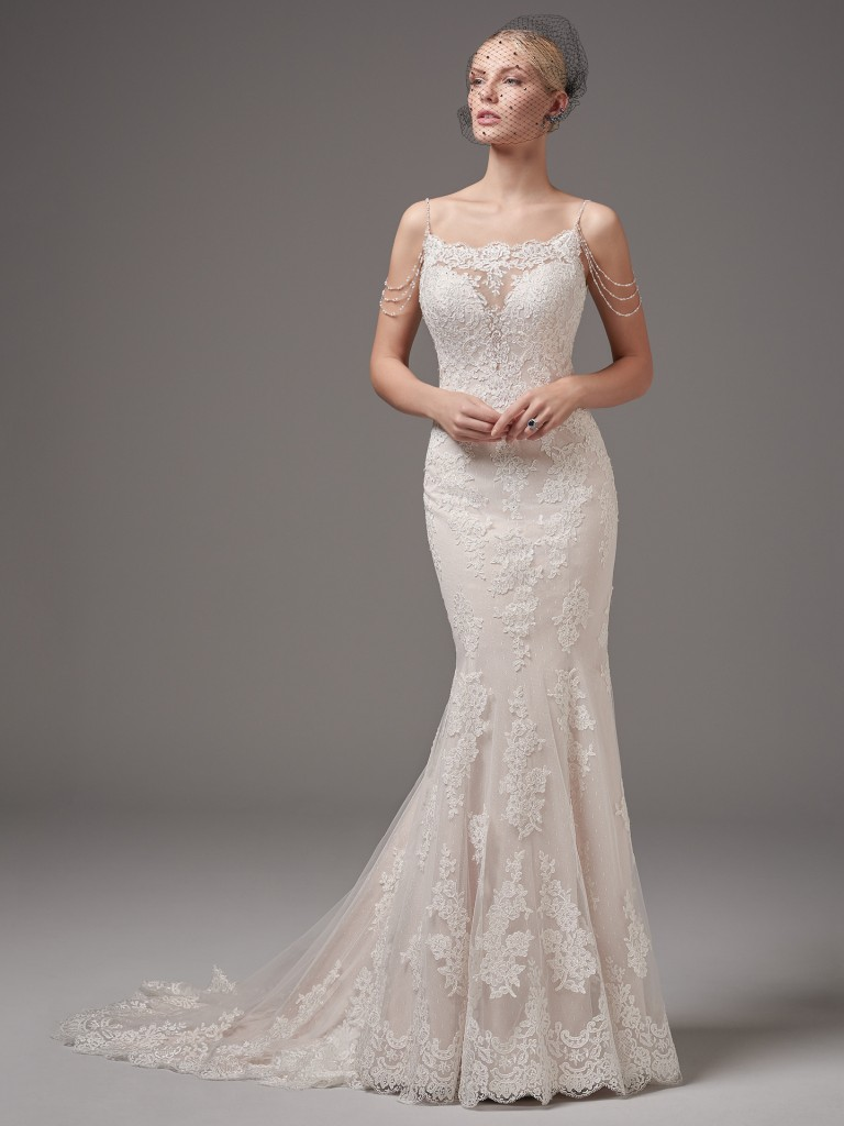 Lightweight Gatsby Gowns for a Summer Wedding - Alluring lace fit-and-flare Rhett wedding dress by Sottero and Midgley