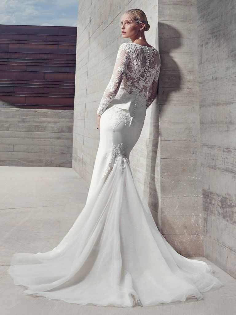 Favorite Sleeved Wedding dresses - Sophisticated fit-and-flare gown with sleeves Harlow by Sottero and Midgley