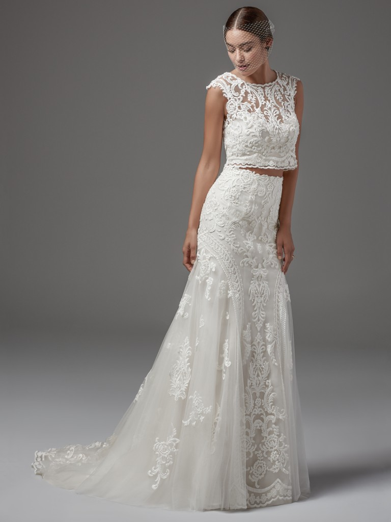 Lace over tulle wedding dress Channing by Sottero and Midgley