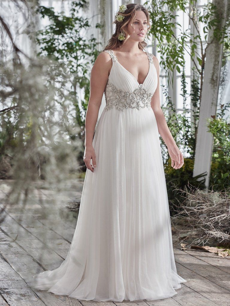 The Ultimate Guide to Wedding Gowns for Curvy Brides from Whitney of CurveGenius - Try the Phyllis wedding dress by Maggie Sottero if you're curvy and have a smaller bust.