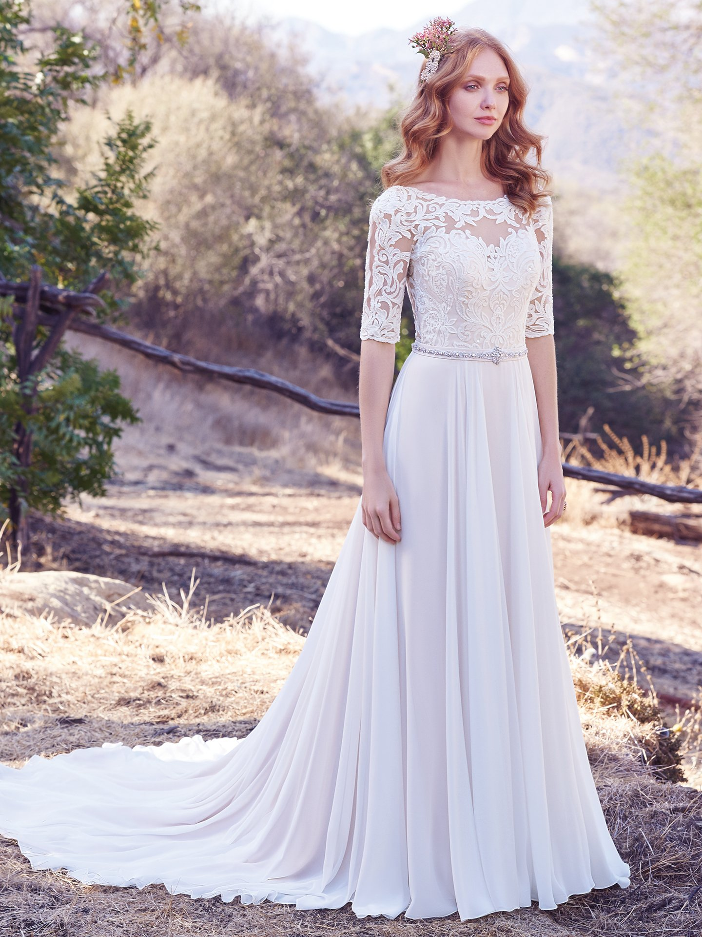 Chiffon wedding dress Darcy by Maggie Sottero