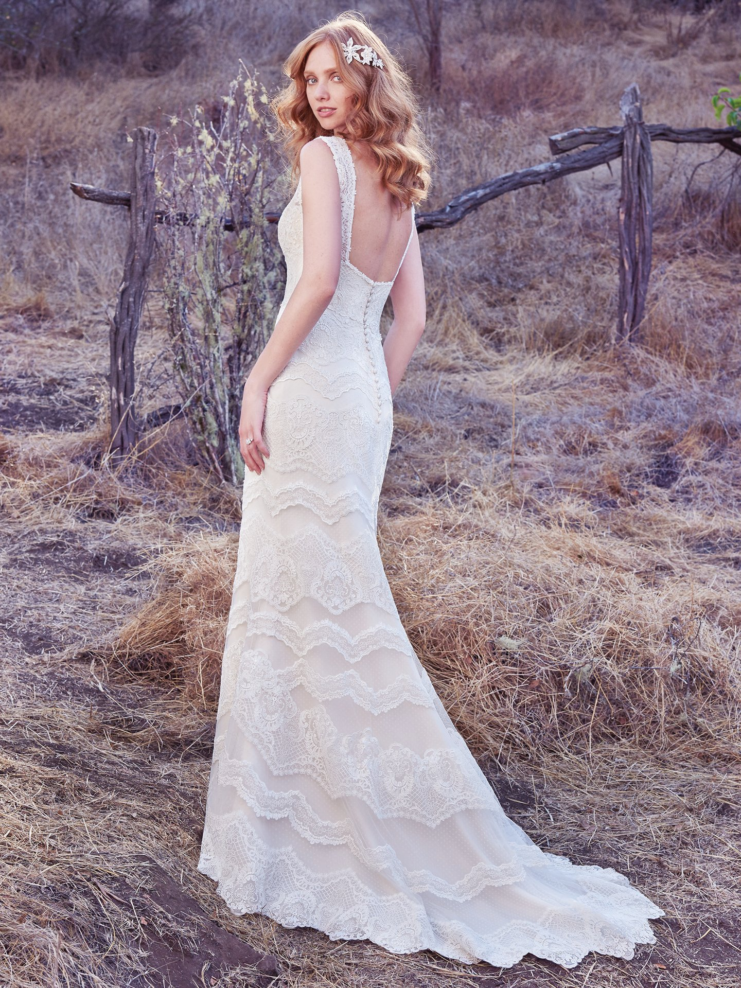 Ivory over Light Gold wedding dress by  Maggie Sottero. Colorful Wedding Dresses For The Bold Bride