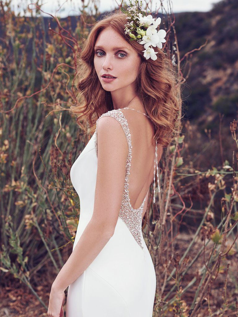 2019 Satin Wedding Dresses - Evangelina sheath satin wedding gown features a bit of bling on the back!