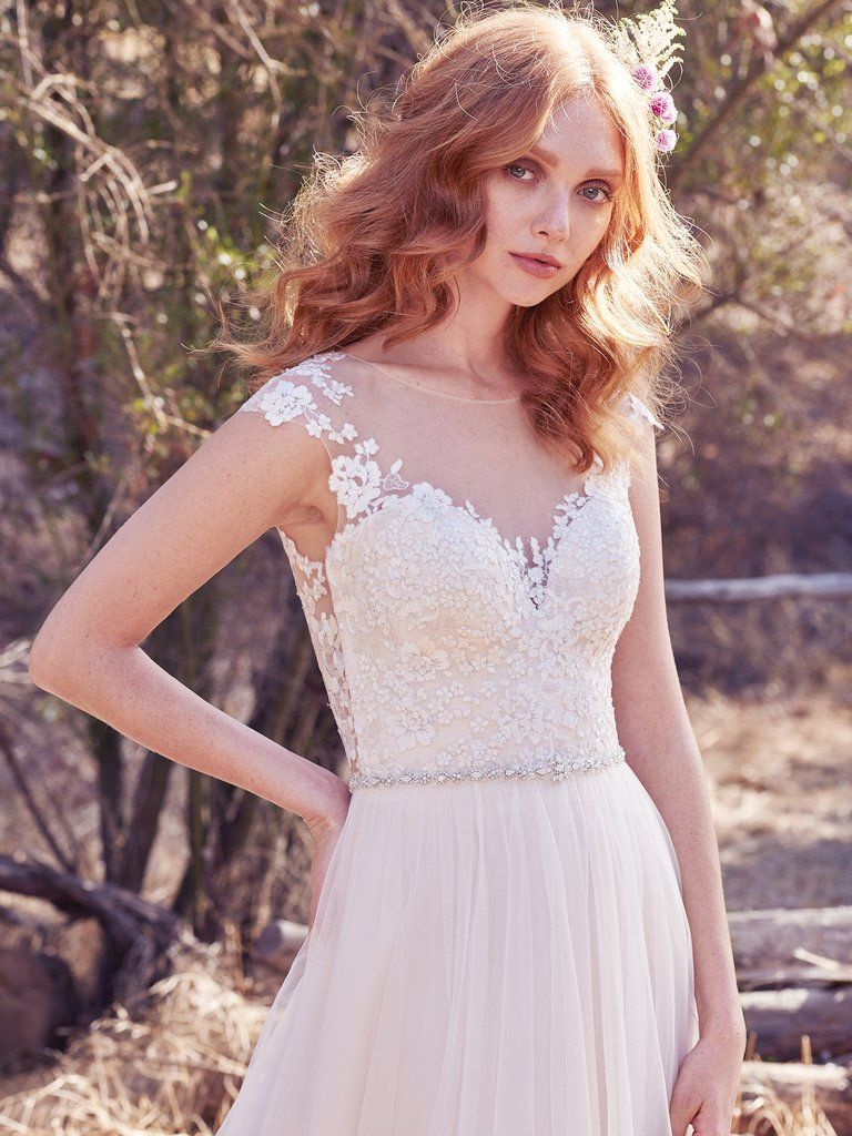 Best Accessories for Your Boho Wedding Dress - Sonja boho wedding dress by Maggie Sottero paired with a vintage veil
