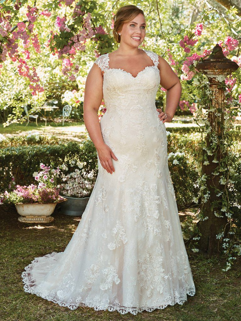The Ultimate Guide to Wedding Gowns for Curvy Brides from Whitney of CurveGenius - Try the Brenda wedding dress by Rebecca Ingram with it's fitted bodice and trumpet flare skirt.