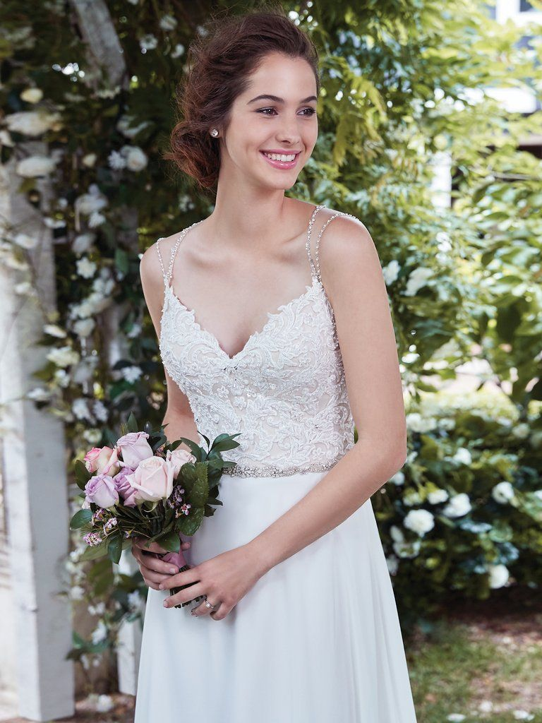 Best Accessories for Your Boho Wedding Dress - Diana boho wedding dress by Rebecca Ingram paired with a shimmery vintage headpiece