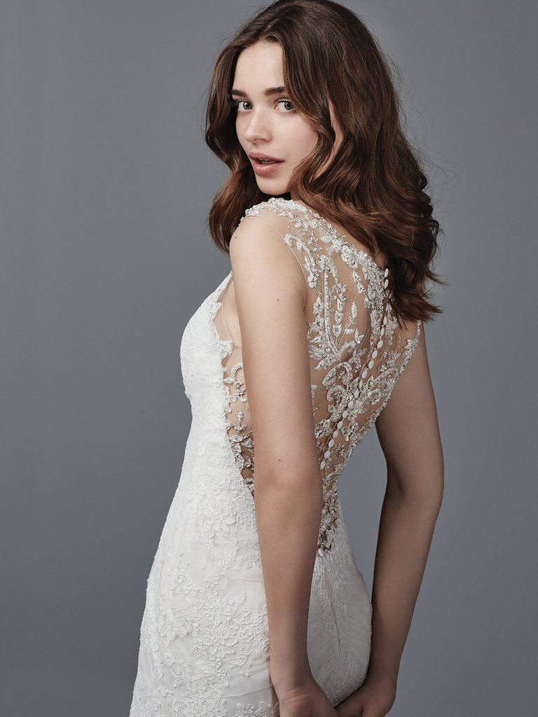 15 Gorgeous Statement-Back Gowns for the Stylish Bride - Palmer wedding dress with statement back by Sottero and Midgley