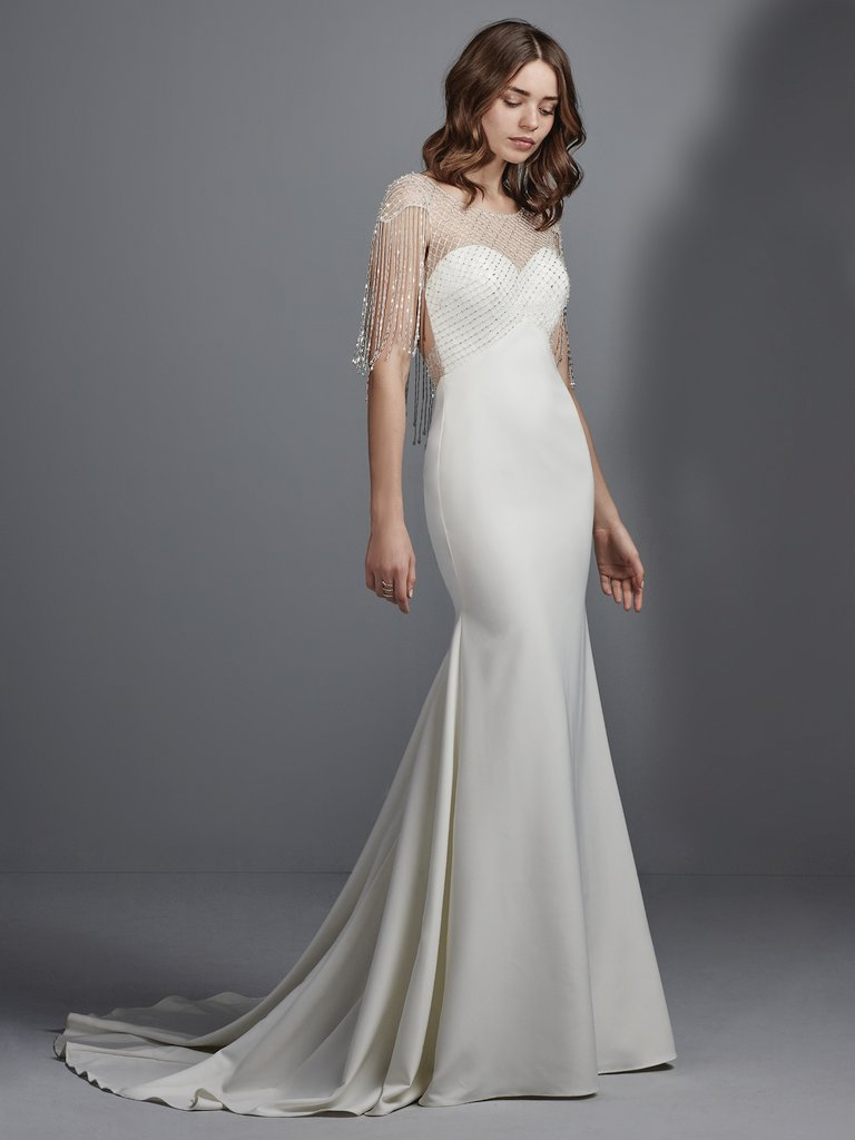 The Skinny On Satin Wedding Dresses - Sottero and Midgley's Liam satin wedding gown will complement your Gatsby-themed wedding perfectly!