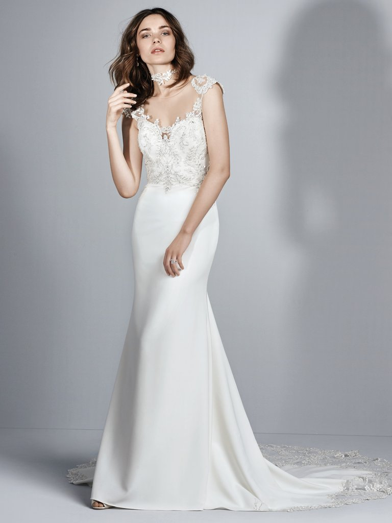 9a8a2c9663808 The Best Slip Style Wedding Dresses Chic and Relaxed Brides. Beaded lace  appliqués accent the ...