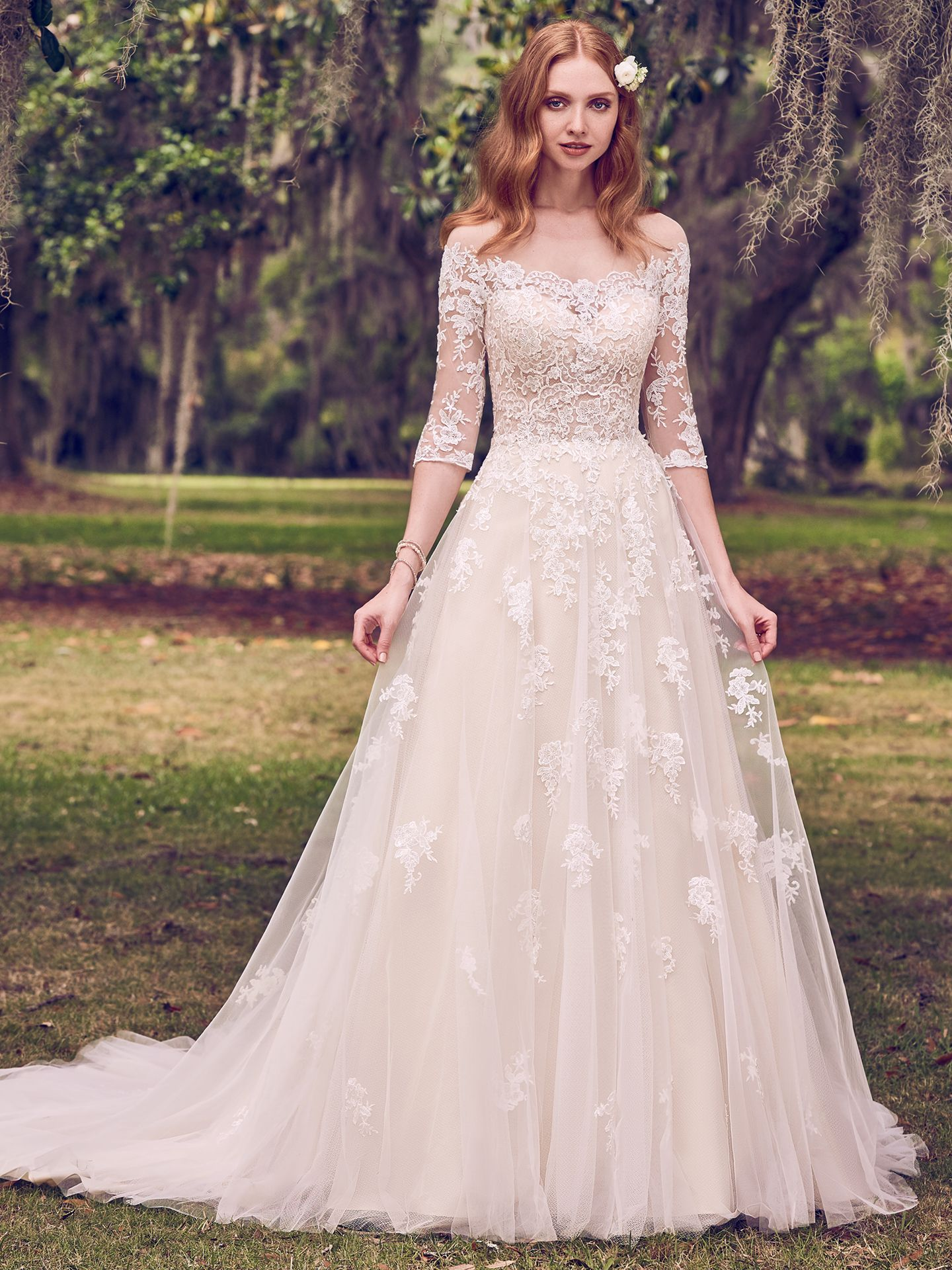 Favorite Sleeved Wedding dresses - Scalloped illusion off the shoulder neckline on subtly sexy wedding dress Bree by Maggie Sottero