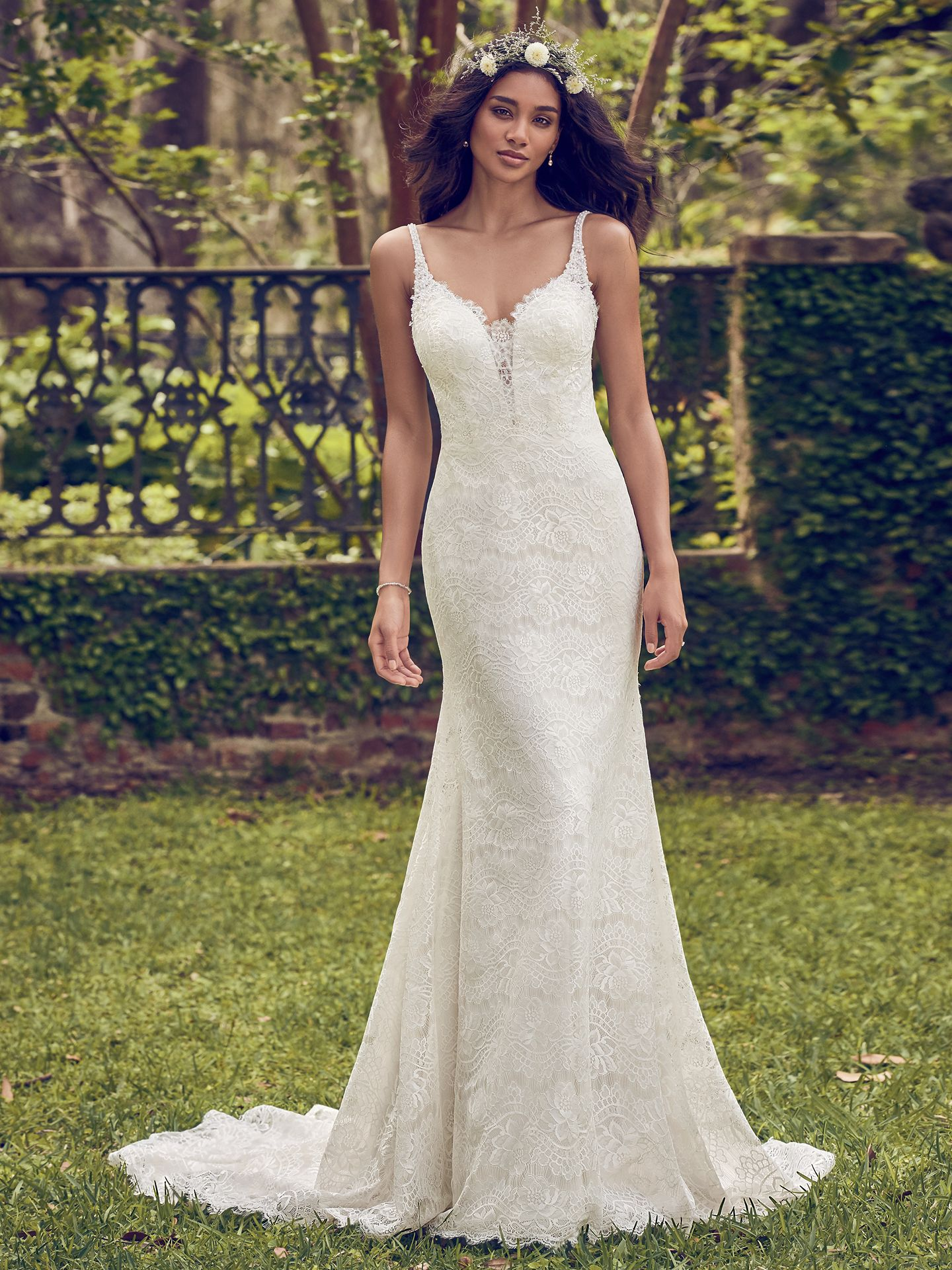 Dorian wedding dress features soft allover lace comprises this wedding dress, featuring illusion lace details along the plunging sweetheart neckline and scoop back. - The Latest Wedding Dress Trends for Engagement Season 2018