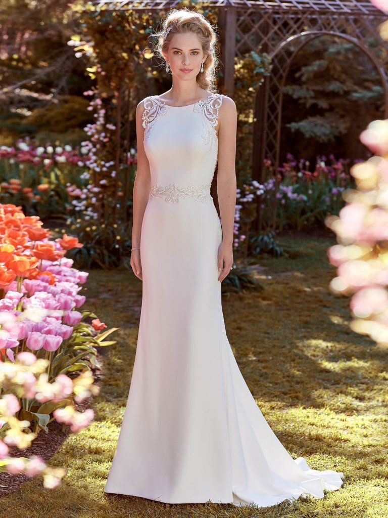 New Style Wedding Dress: Ada (8RC441) Simple Crepe Wedding Dress By Rebecca Ingram