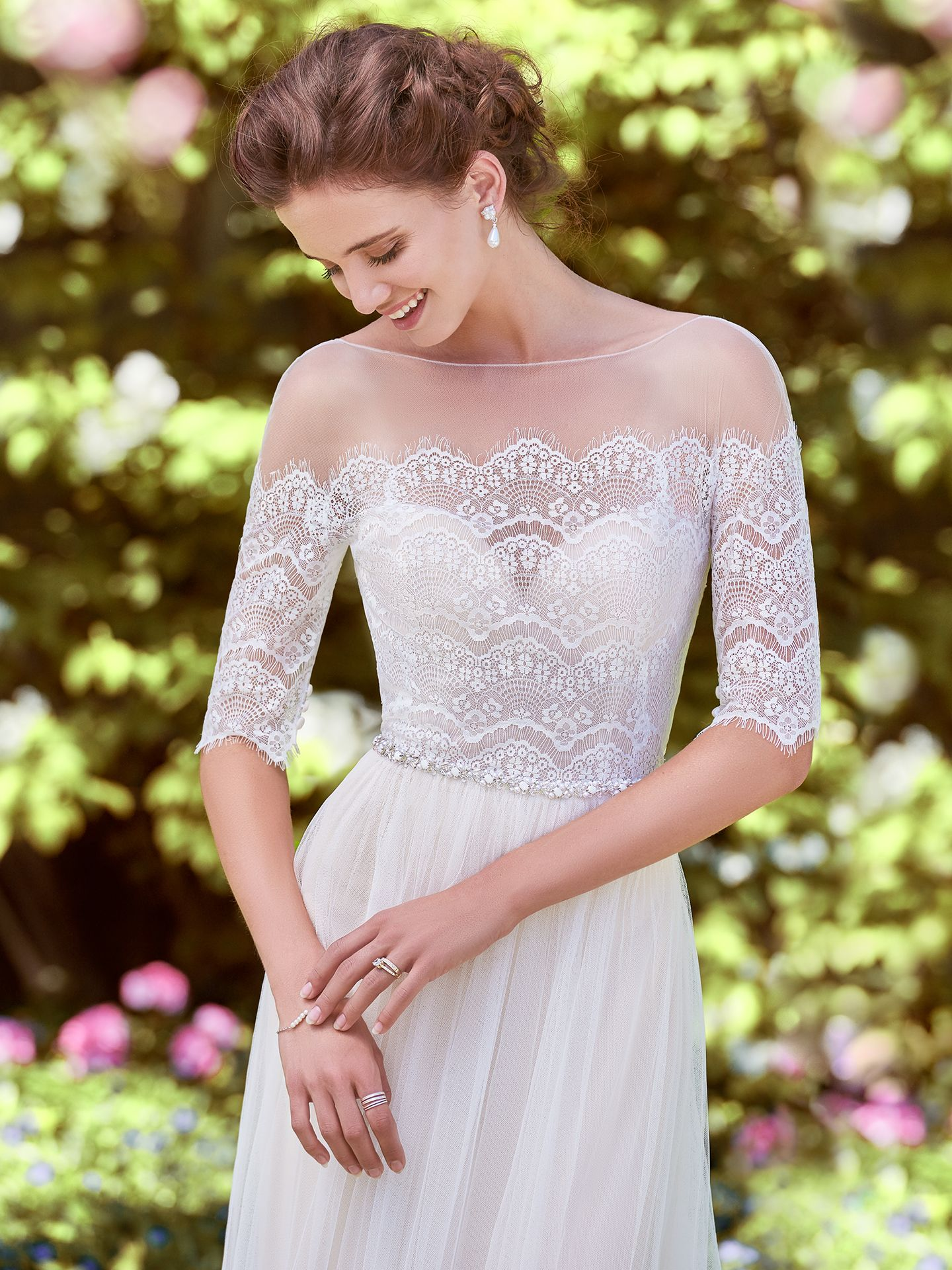 Lace over tulle wedding dress Cathy by Rebecca Ingram