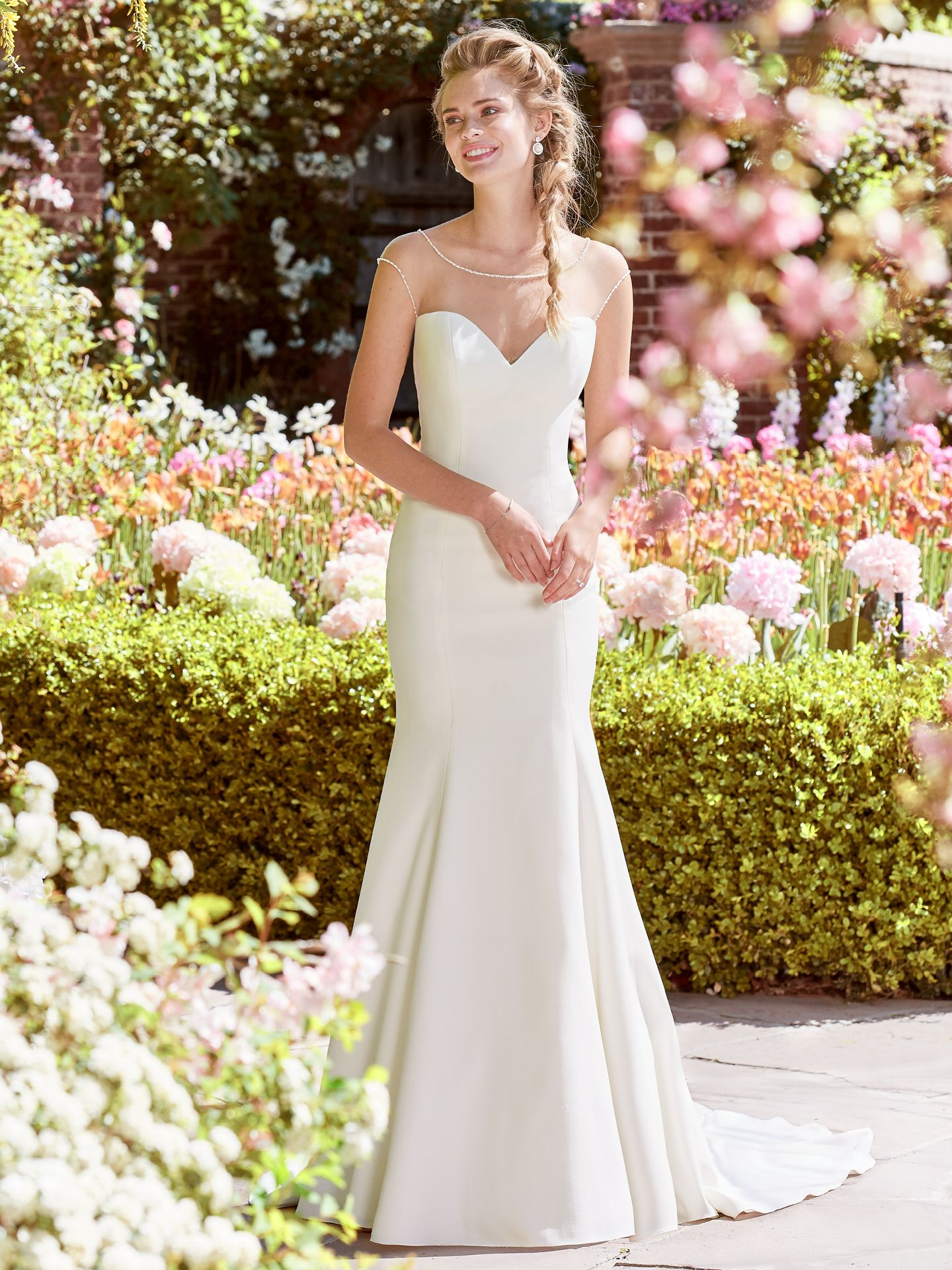 This Vetali Crepe fit-and-flare features an illusion bateau over sweetheart neckline, illusion cap-sleeves, and an illusion scoop back, all trimmed in pearls and beading. - The Latest Wedding Dress Trends for Engagement Season 2018