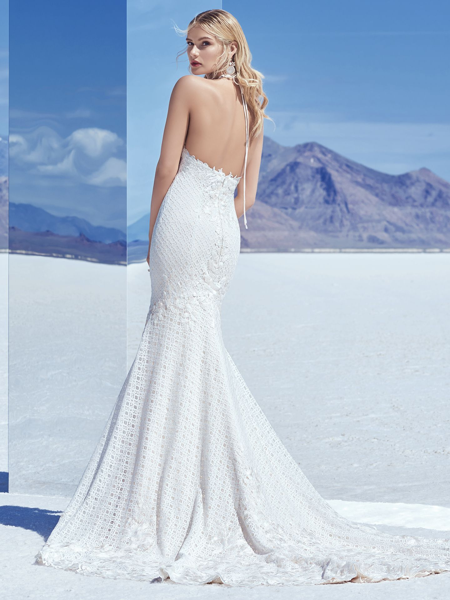 Chance features embroidered lace motifs cascade over allover lace in this unique wedding dress, accenting the bust, fit-and-flare skirt, and breathtaking train. Lace motifs create a halter neckline that ties over the open back. - The Latest Wedding Dress Trends for Engagement Season 2018