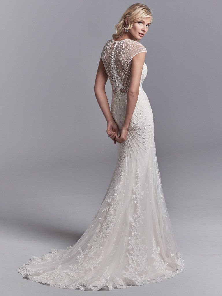 Vintage Wedding Dress With Geometric Details | Grady Old-Hollywood vintage wedding dress with geometric beading