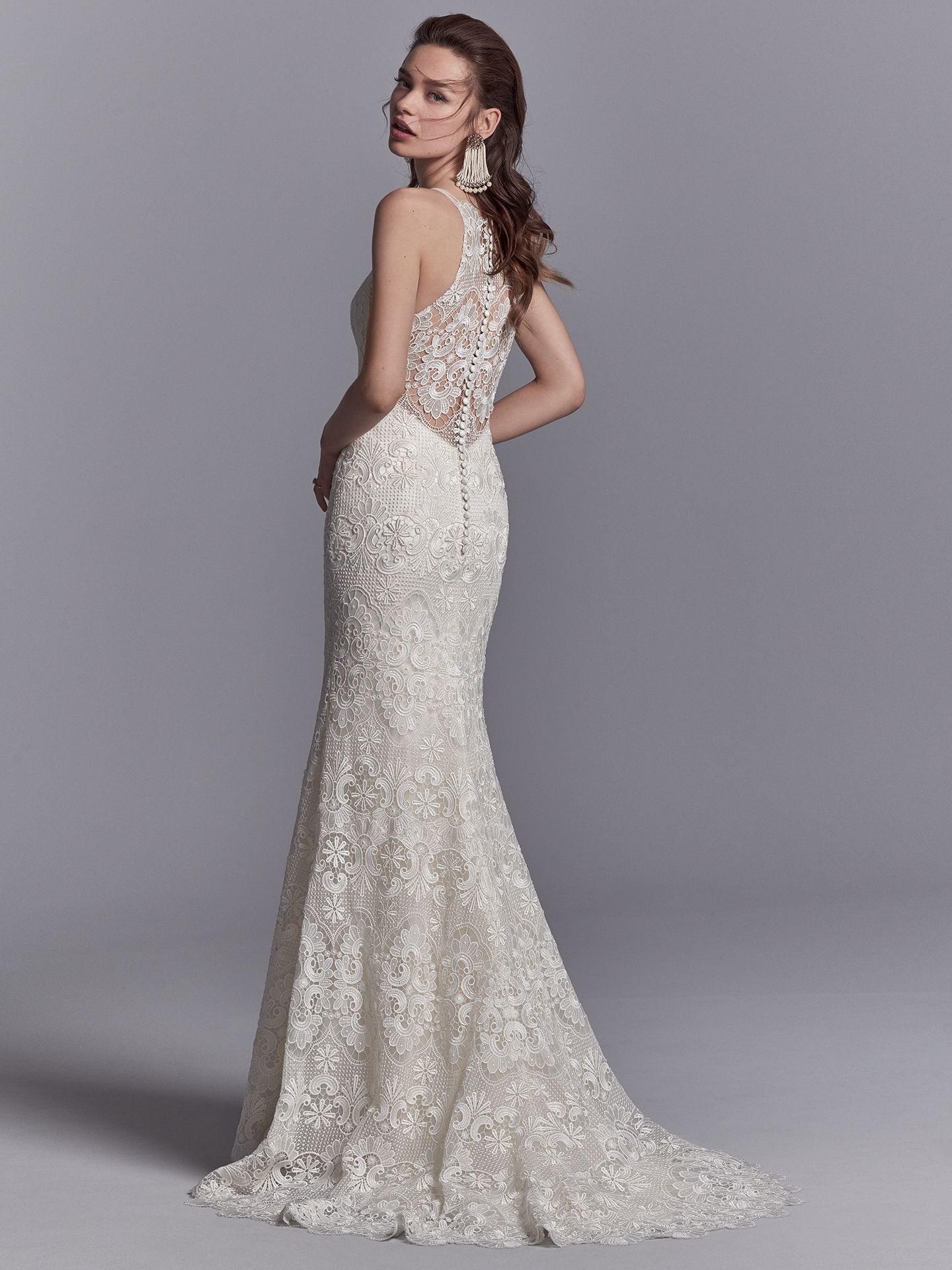 15 Gorgeous Statement-Back Gowns for the Stylish Bride - Zayn vintage lace wedding dress by Sottero & Midgley