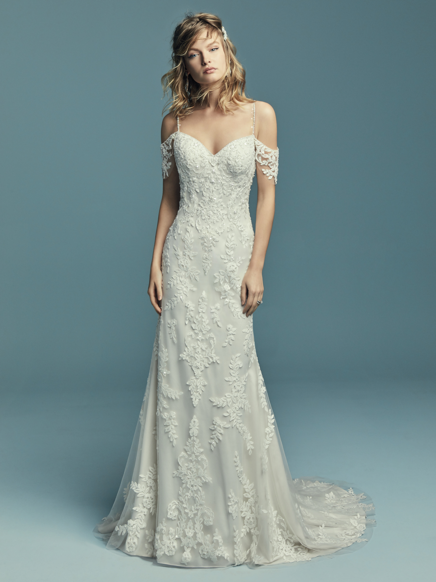 Shimmering sleeved wedding gown Angelica by Maggie Sottero