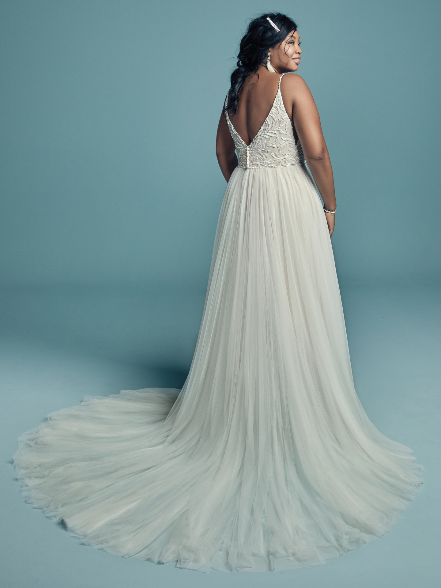 The Ultimate Guide to Wedding Gowns for Curvy Brides from Whitney of CurveGenius - Try the Charlene Lynette wedding dress by Maggie Sottero for body types with a smaller bust and fuller hip