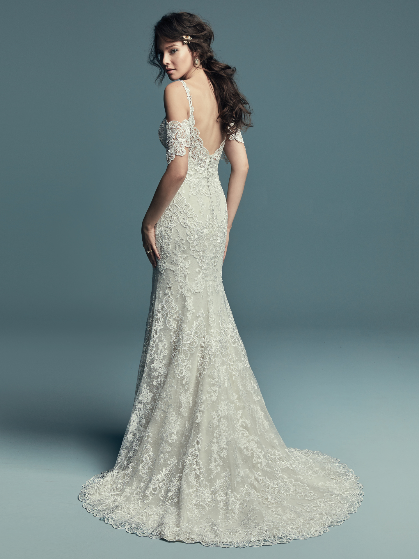 Unique lace cold-shoulder sleeved gown Elliana by Maggie Sottero