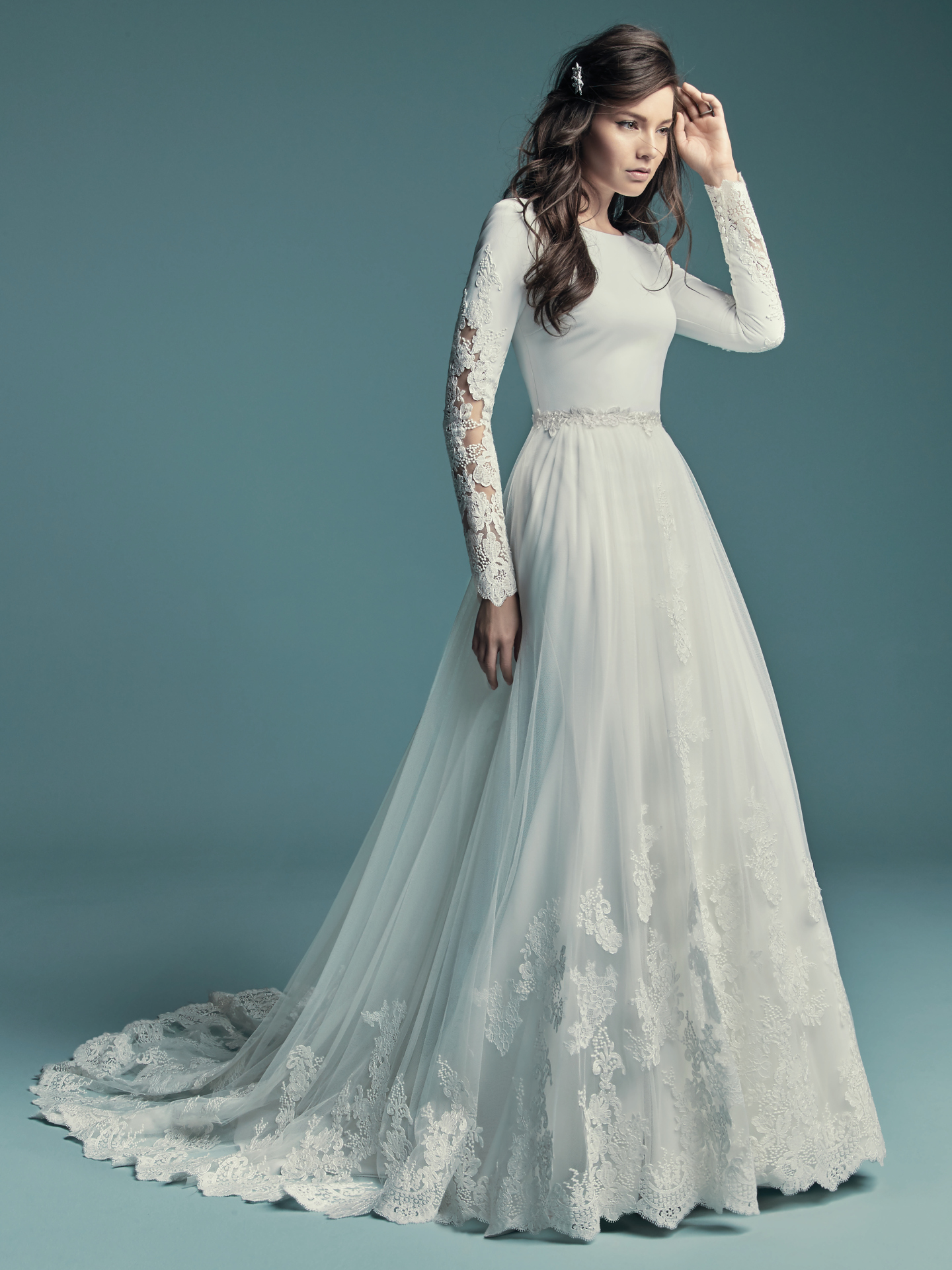 Favorite Sleeved Wedding dresses - Simple wedding dress Olyssia with overskirt by Maggie Sottero