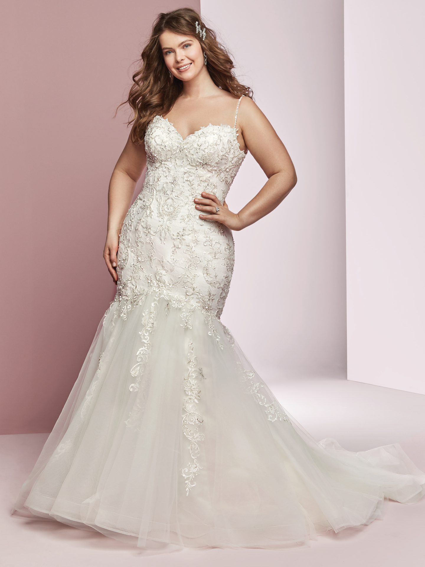 The Ultimate Guide to Wedding Gowns for Curvy Brides from Whitney of CurveGenius - Try the Claire Ann wedding dress by Rebecca Ingram and let the embroidered lace hug your curves
