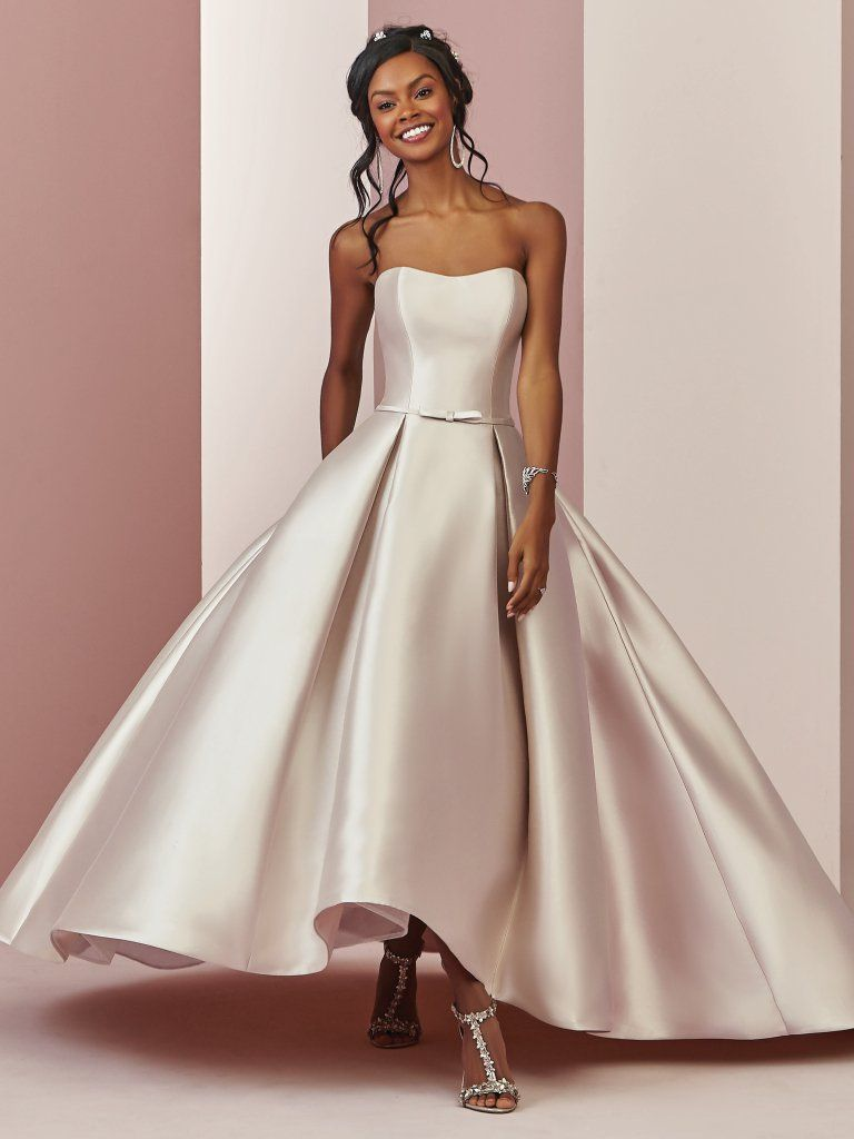 Erica blush high-low wedding dress by Rebecca Ingram